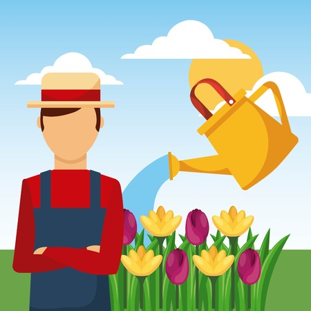 gardener watering can flowers garden work vector illustration