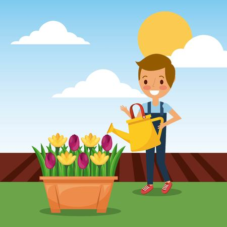 cute boy watering can potted flowers decoration in garden vector illustration