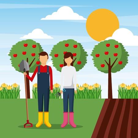 paar tuinman permanent in tuin met apparatuur vectorillustratie Stock Illustratie
