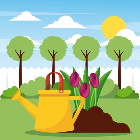 watering planting flowers and filed tree sun clouds vector illustration
