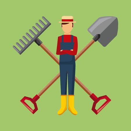 gardener with shovel and pitchfork cross tool garden vector illustration