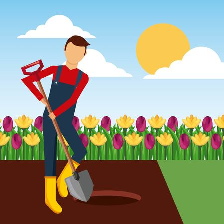 gardener digging a hole with shovel in the garden landscape vector illustration