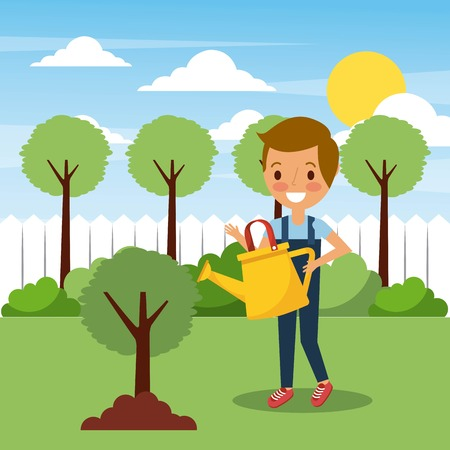 young boy watering tree in garden with trees landscape vector illustration
