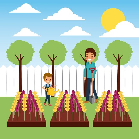 mother and son watering flowers in plowing field vector illustration
