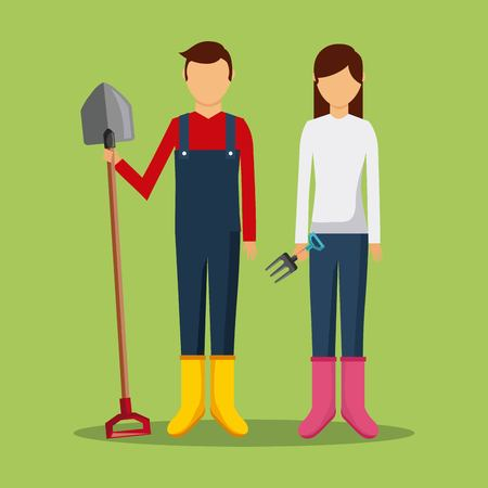 gardeners couple holding shovel and pichfork tools vector illustration Illustration
