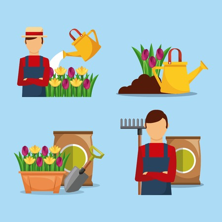 set of gardener with flowers tools fetilizer vector illustration
