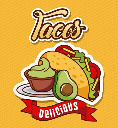 tacos avocado guacamole delicious food vector illustration