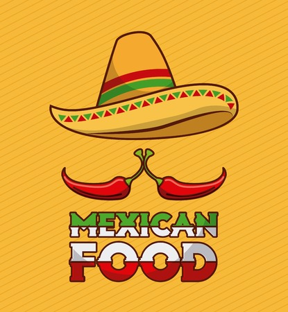 mexican food chili pepper and hat traditional vector illustration