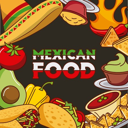mexican food card differents ingredients menu vector illustration Illustration