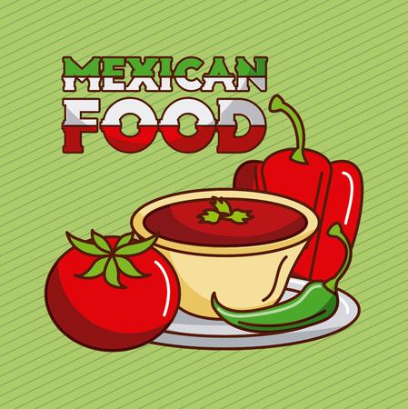 mexican food chili pepper tomato sauce traditional vector illustration