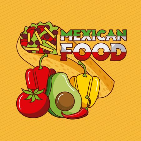 mexican food taco pepper tomato avocado vector illustration Illustration