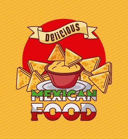 mexican food delicious nachos cheddar spice vector illustration