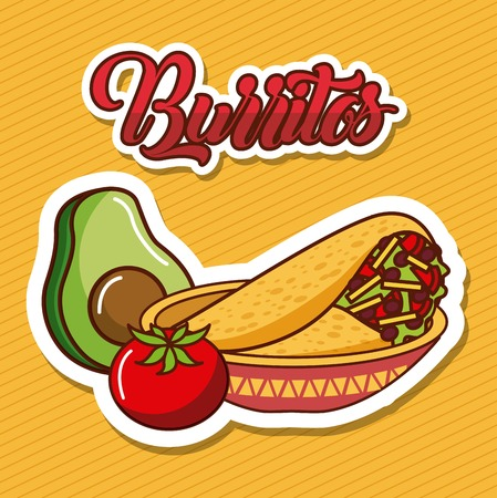 burritos in bowl avocado and tomato mexican food vector illustration