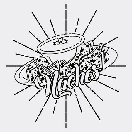 Nachos mexican food dish sauce vintage style vector illustration Illustration