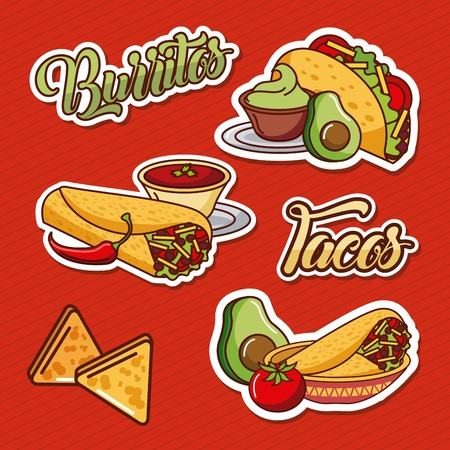 burritos tacos nachos mexican food tomato avocado vector illustration Illustration