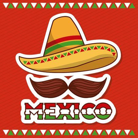 멕시코 모자와 콧수염 포스터 초대 벡터 일러스트 레이션