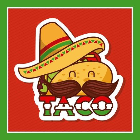 taco with mustache and hat cartoon menu poster vector illustration Иллюстрация