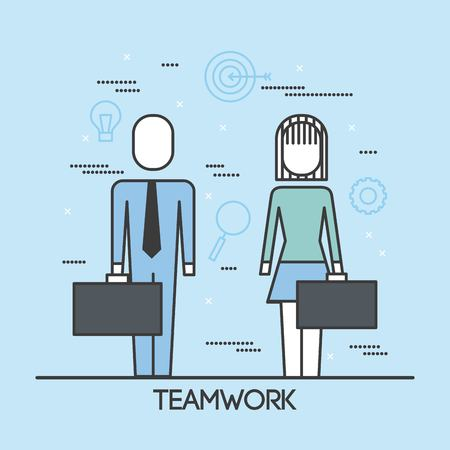 teamwork man and woman with suit and briefcase thin line style vector illustration