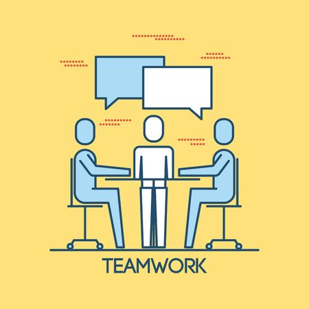 people sitting meeting teamwork group business discussing working vector illustration
