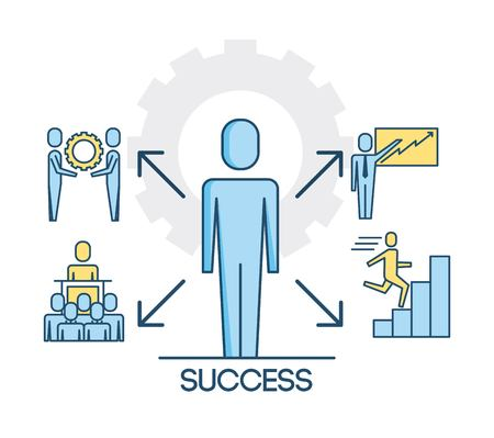 success people teamwork cooperation successful vector illustration