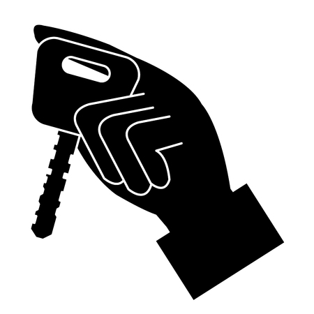 hand with car key isolated icon vector illustration design