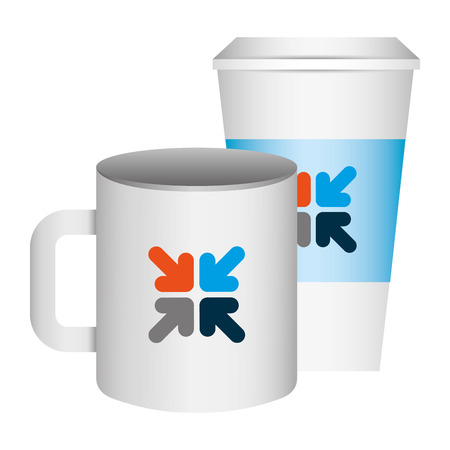 ceramic and paper coffee cup template for corporate identity vector illustration