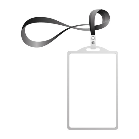 template for advertising branding and corporate identity plastic id badge with lanyard vector illustration