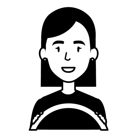 young woman driving with steering wheel vector illustration design Illustration