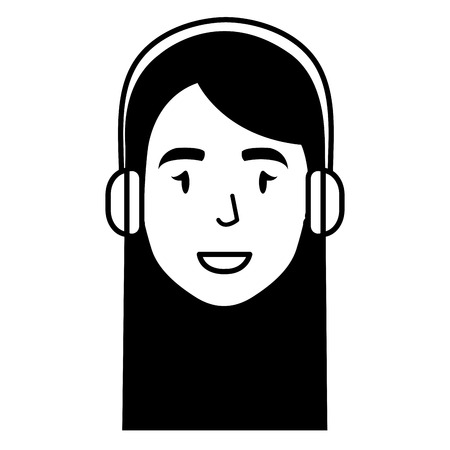 call center agent head avatar character vector illustration design