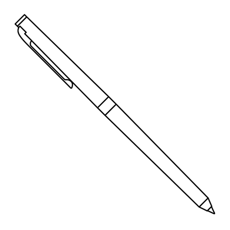 classic ballpoint pen write supply office object vector illustration outline Ilustrace