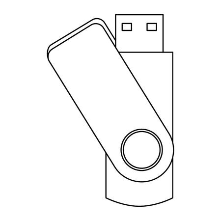usb flash drive backup stationery office element vector illustration outline Illustration