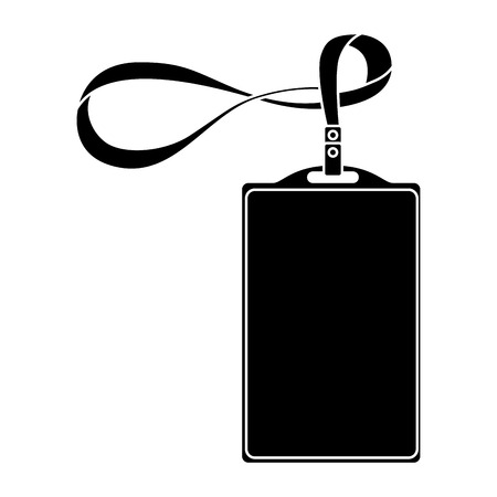template for advertising branding and corporate identity plastic id badge with lanyard vector illustration pictogram