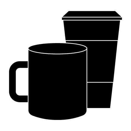 ceramic and paper coffee cup empty template for corporate identity vector illustration pictogram