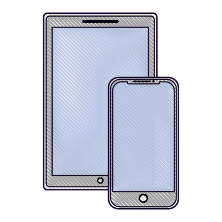 technology devices screen wireless template vector illustration drawing image  イラスト・ベクター素材