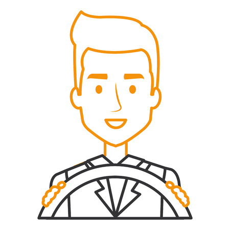 young man driving with steering wheel vector illustration design Illustration