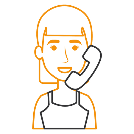 woman with telephone calling vector illustration design