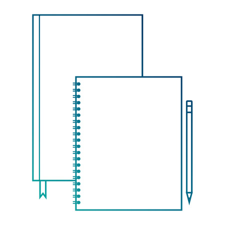 spiral notepad diary and pencil template branding and corporate identity blank vector illustration blue line image