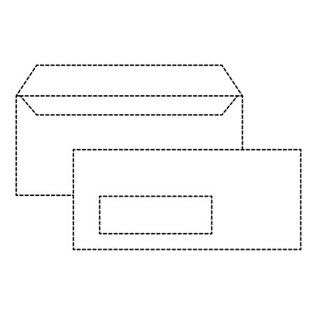 企業の封筒ビジネス文房具テンプレート空ベクトルイラスト点線デザイン。