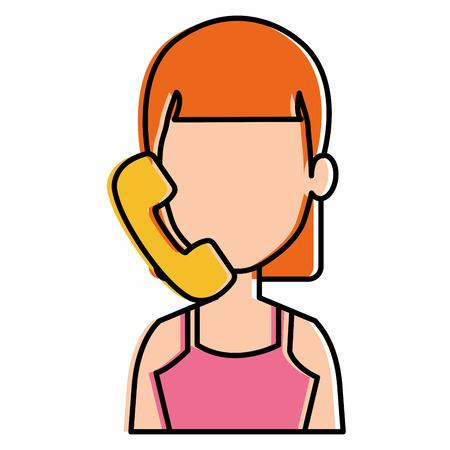 vrouw met telefoon bellen vector illustratie ontwerp