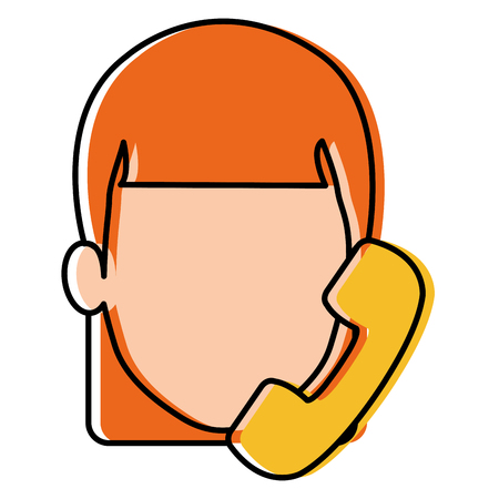 Woman with telephone calling illustration design.