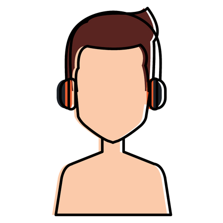 call center agent shirtless avatar character vector illustration design