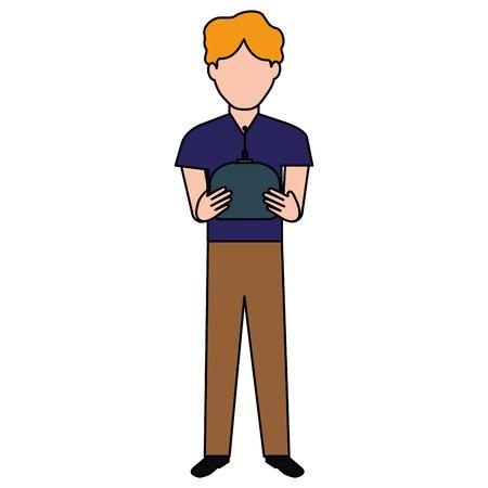 man with drone remote control vector illustration design