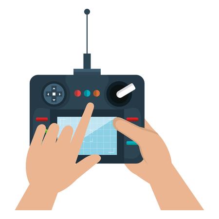user hand with drone remote control vector illustration design