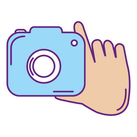hand with camera photographic isolated icon vector illustration design