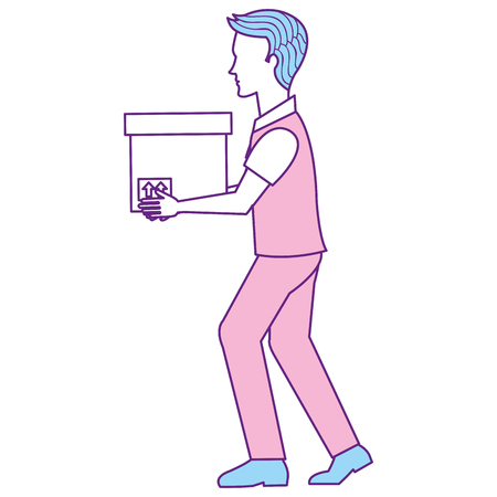 man with carton box packing icon vector illustration design