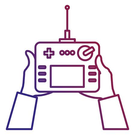User hand with drone remote control vector illustration design Illustration