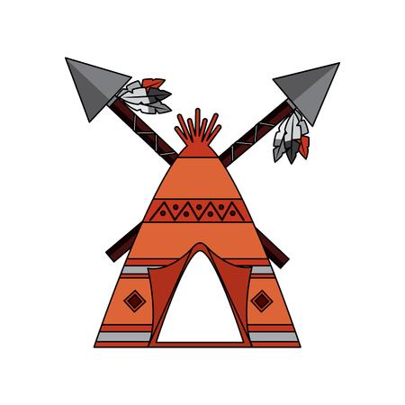 Inicio indio de la tienda de indios americanos del nativo con la ilustración del vector de las lanzas cruzadas Foto de archivo - 91504025