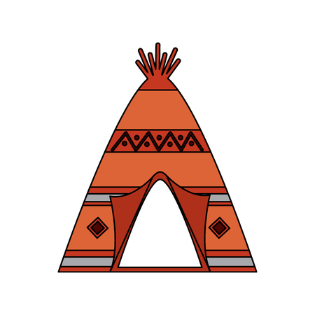 Native american indian teepee home with tribal ornament front view vector illustration 일러스트