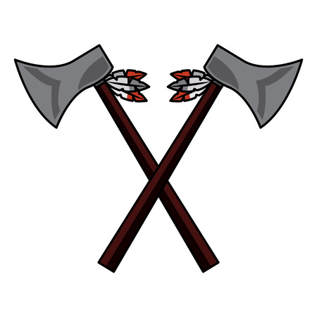 A crossed pair axe native american indian weapon vector illustration Banco de Imagens - 91507009