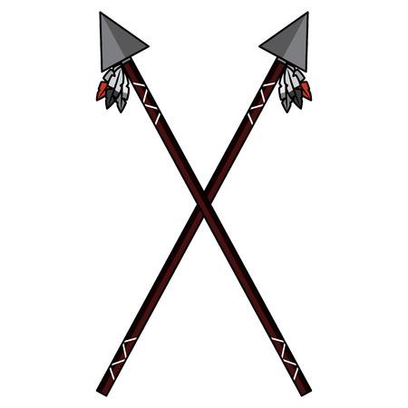 Een gekruiste twee speer inheemse Amerikaanse Indische wapen vectorillustratie